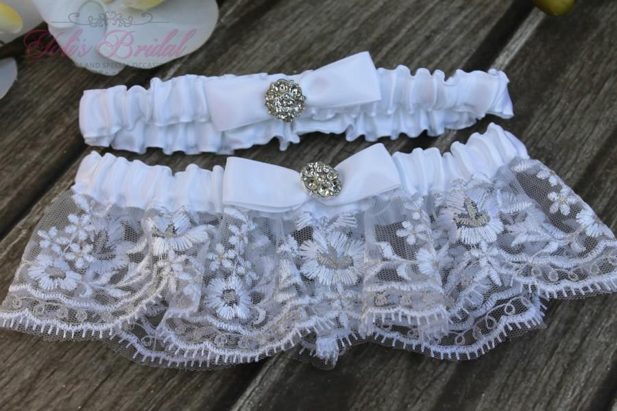 Wedding - FAST Shipping!!!!  Beautiful White Wedding Garter Set, Bridal Garter Set, Rhinestones Garter, Lace Garter Set, Toss Garter, Tossing Garter