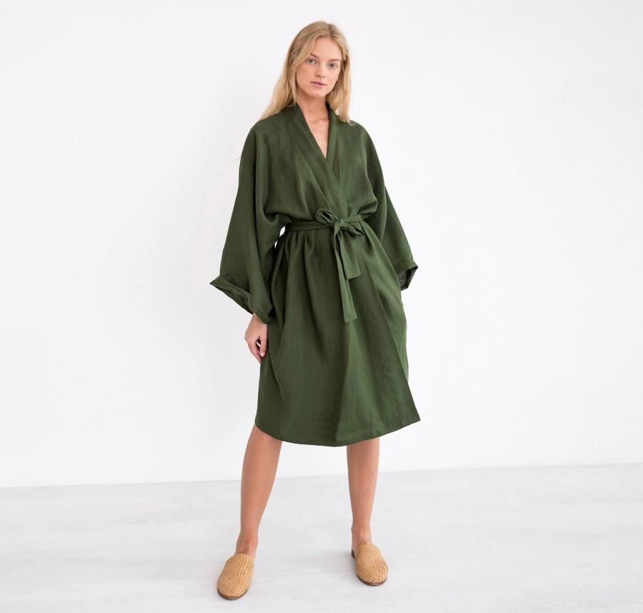 Mariage - LUNA Oversized Linen Bridesmaid Robe / Kimono Wrap Dress