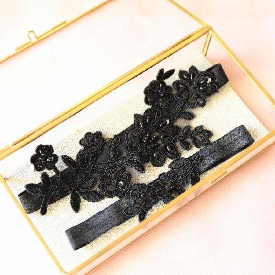 Mariage - Wedding Garter Set, Black Lace Wedding Garter Set, Black Bridal  Garter Set,Black Toss Garter , Wedding Garter Belt -1830