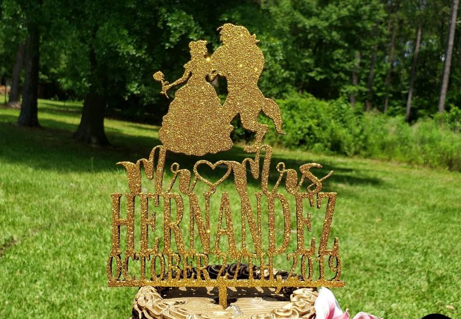 Wedding - Fairy Tale Wedding Cake Topper, Mr and Mrs Wedding Cake topper , Personalized wedding Cake topper, Beauty and the Beast Wedding Cake Topper