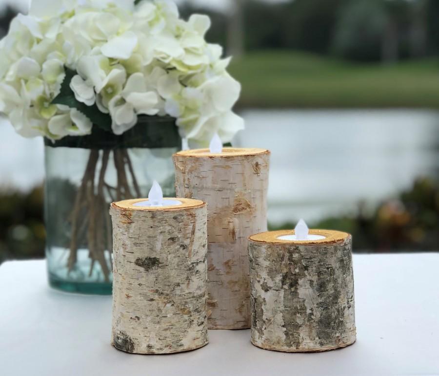 زفاف - Birch Bark Log Candle Holders - Set of 3 - Votive Tea Light - Rustic Chic - Wedding Centerpiece