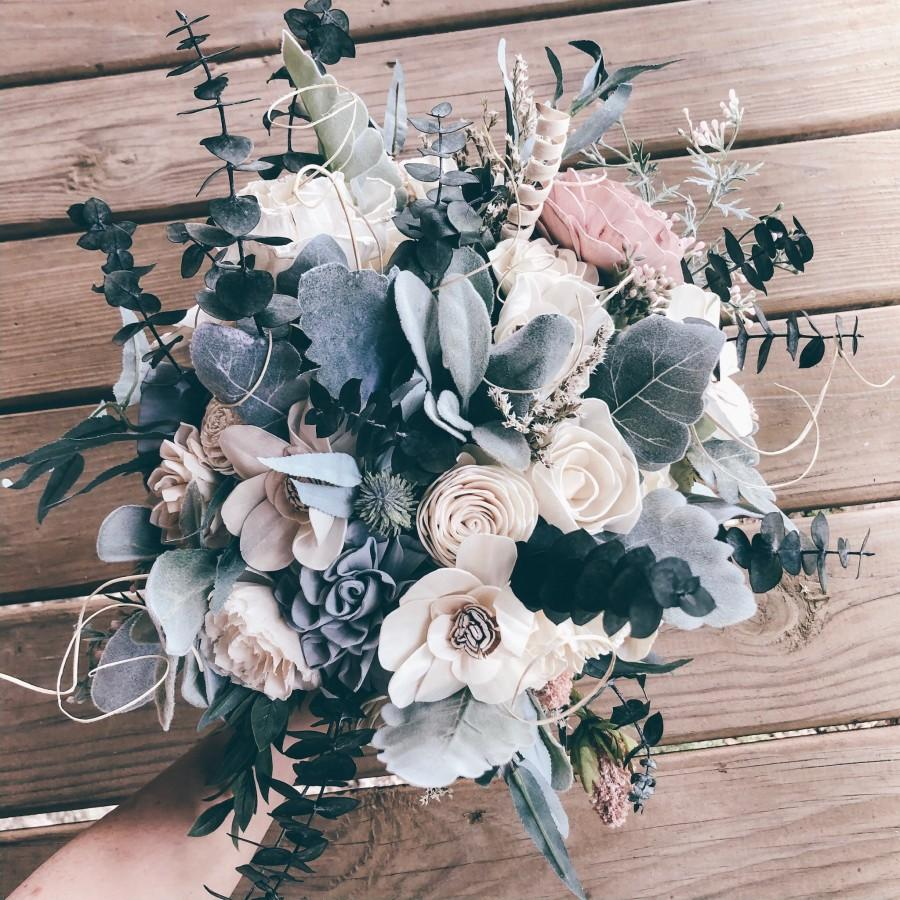 زفاف - HANNAH'S COLLECTION ~ Sola Wood Flowers ~ Wedding Bouquet ~ Dusty Blue ~ Greenery ~Eucalyptus ~ Custom Bouquet ~ Forever Bouquet ~ Wood