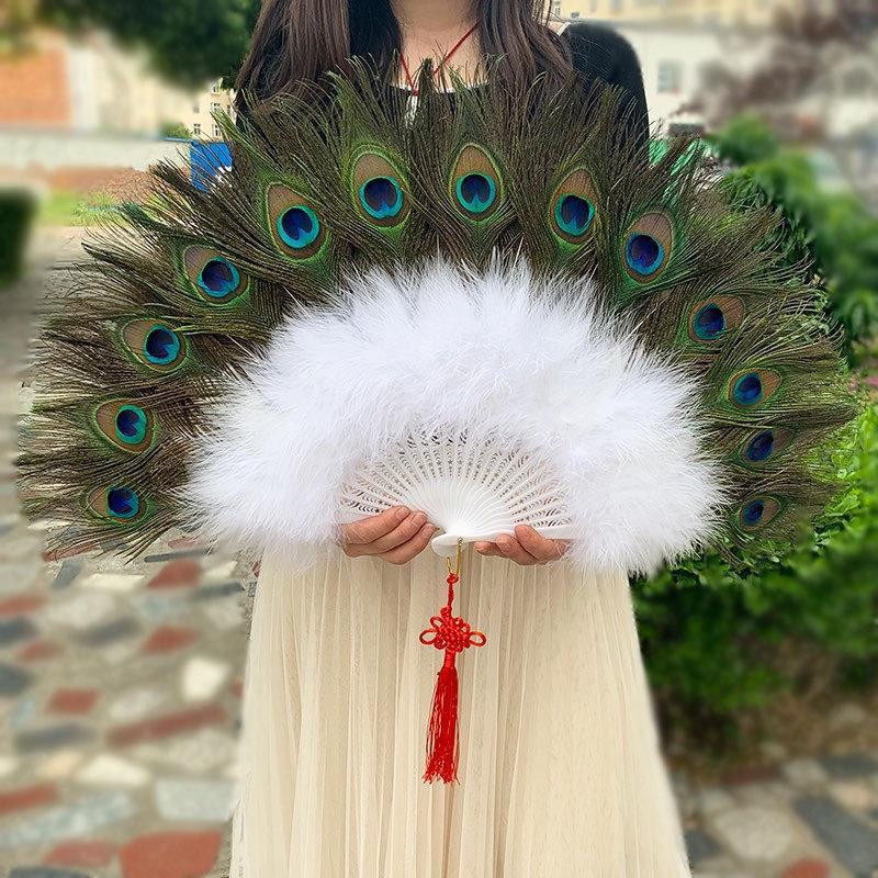 زفاف - 26*14inch Large Peacock Feather Hand Fans White Marabou Feather Fans Feather Fan  Bridal Wedding Two Side Peacock Feather Fans
