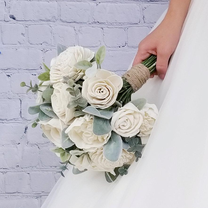 Hochzeit - Sola Wood Rose Bridal Bouquet with Lambs Ear and Eucalyptus