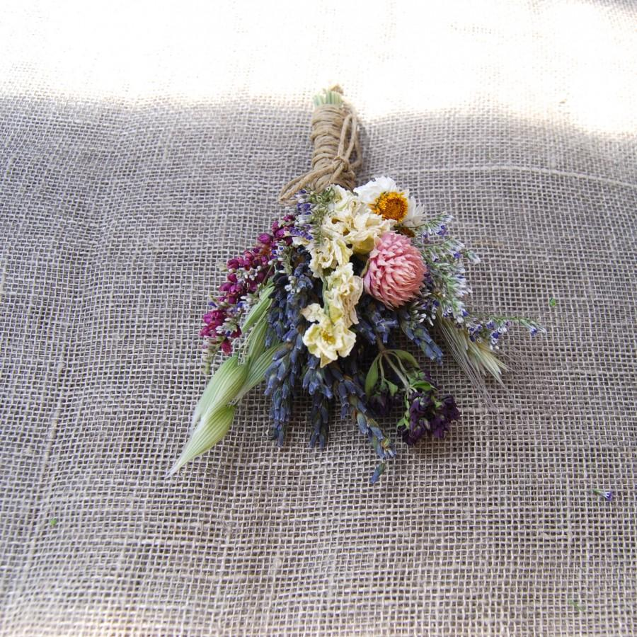 زفاف - Dusty Pink, Blush, White Sage and Lavender Summer Wildflower Wedding Boutonniere or Corsage in Ivory Sage Pinks Lavender Larkspur and Wheat