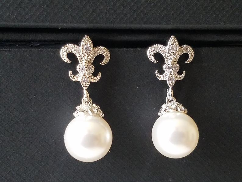 Wedding - Pearl Bridal Earrings, Swarovski White Pearl Wedding Earrings, Fleur de lis Pearl Silver Earrings, Wedding Pearl Jewelry, White Pearl Studs