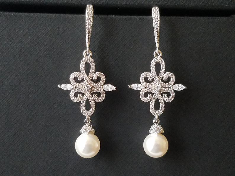 Mariage - Chandelier Bridal Earrings, White Pearl Wedding Earrings, Swarovski Pearl Earrings, Pearl Dangle Earrings, Statement Earrings Bridal Jewelry