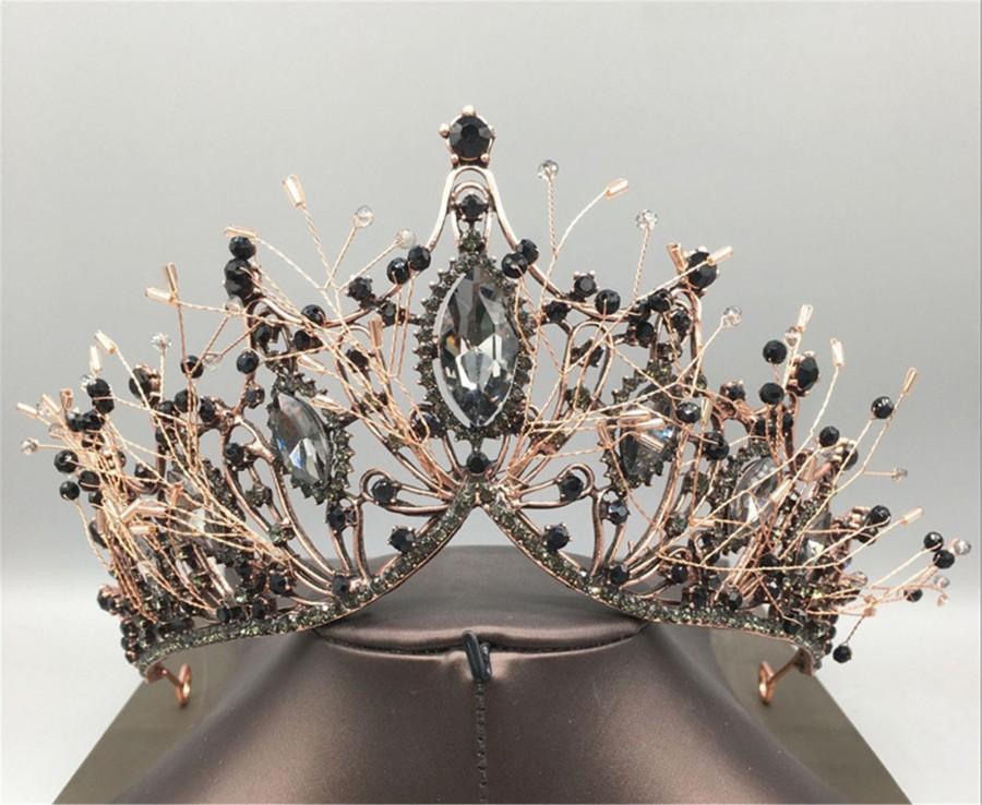 Wedding - Vintage Black Crown//Bridal Headpiece//Black Crystal Wedding Crown//Bridal Crown//Black Wedding Tiara//Birthday Party Crown//Gothic Crown