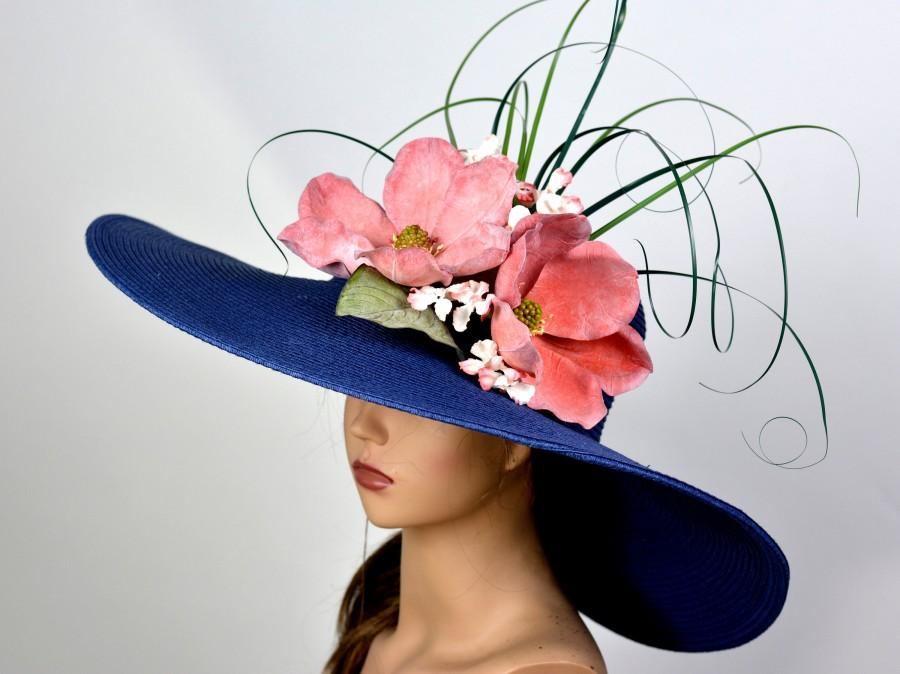 Wedding - Navy Blue Hat Magnolia Wedding Head Piece Kentucky Derby Hat Fascinator Wedding Accessory  Cocktail Hat