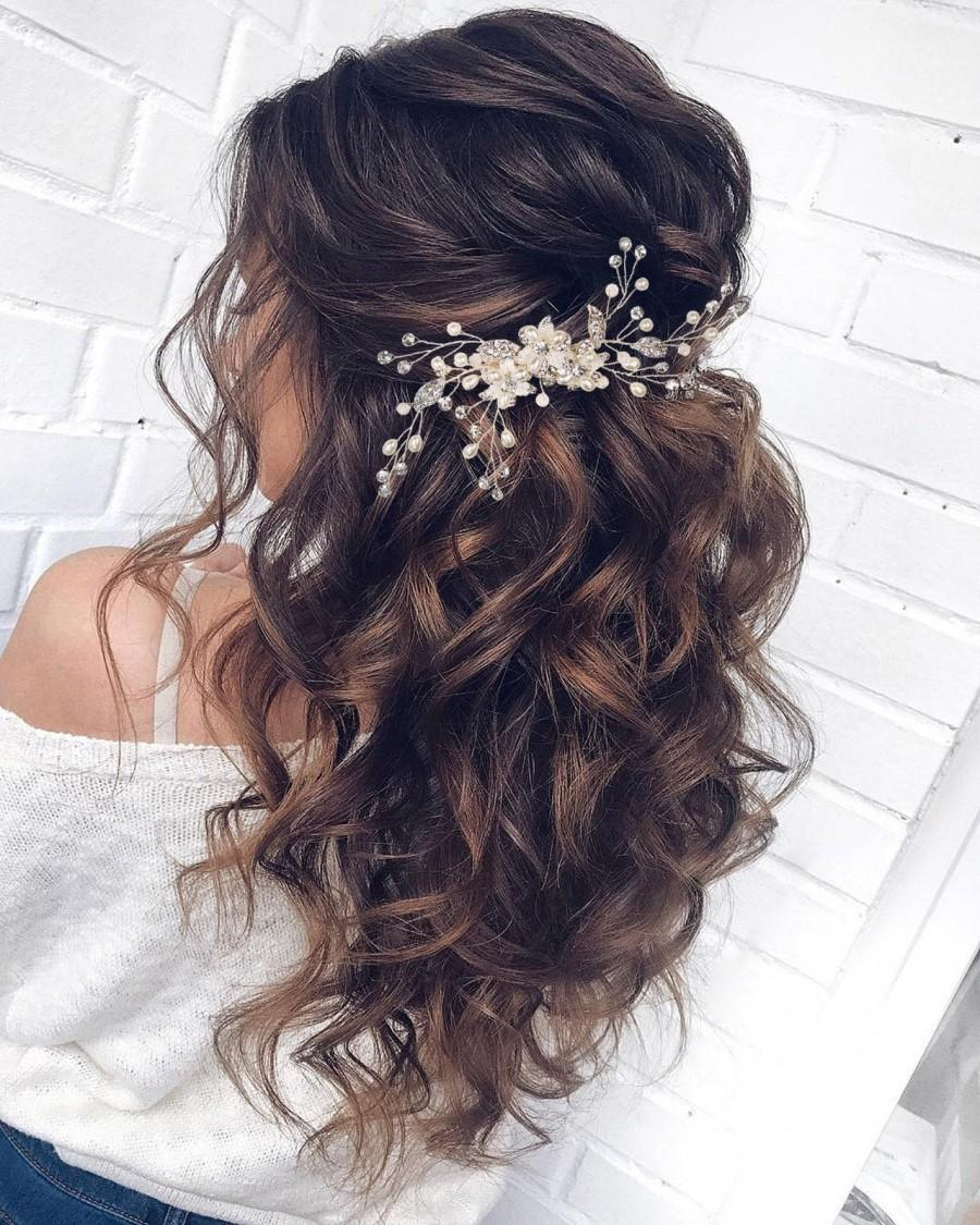 Свадьба - Crystal Wedding Hair Comb Pearl Bridal Hair Comb  Bridal Hair Accessories Pearl Hair Comb Bridal Hair Piece Wedding Hair Accessories