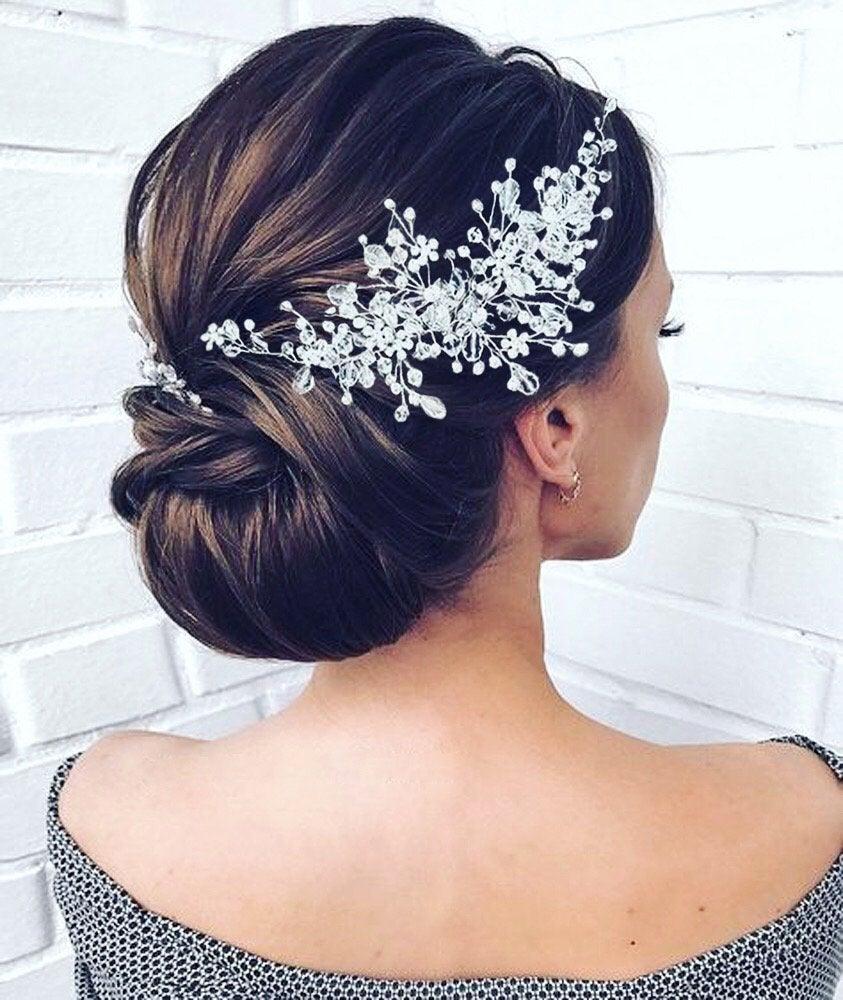 Mariage - Crystal Bridal hair piece Wedding hair piece Wedding Hair Accessories  Bridal Hair Accessories Crystal Bridal Hair vine Bridal Hair jewelry