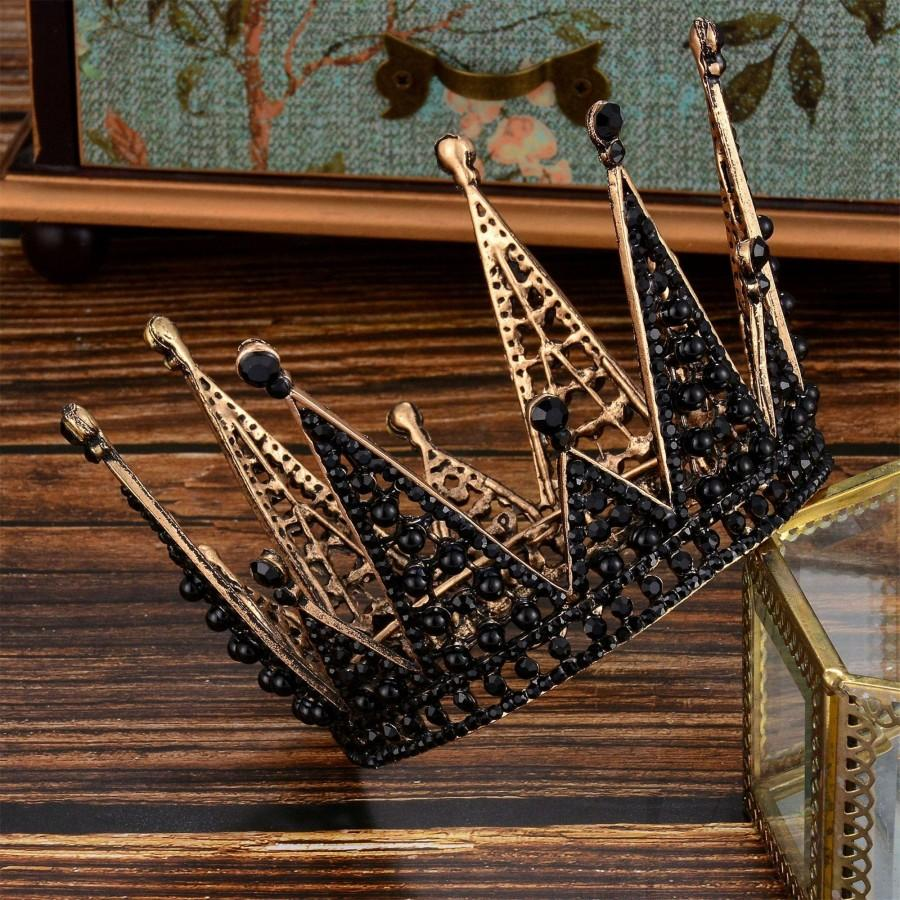 Wedding - Vintage Black Wedding Crown//Black Crystal Wedding Crown//Bridal Crown//Birthday Party Crown//Photo Shoot Crown//Black Bridal Tiara