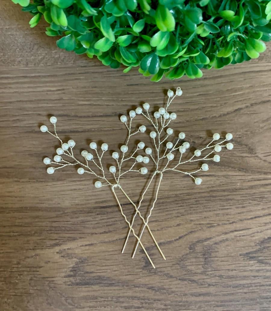 Свадьба - Baby's Breath Hair pins Bridal Hair pins Bridal Hair piece Baby's Breath Hair piece Bridal Hair Accessories Wedding Hair Accessories
