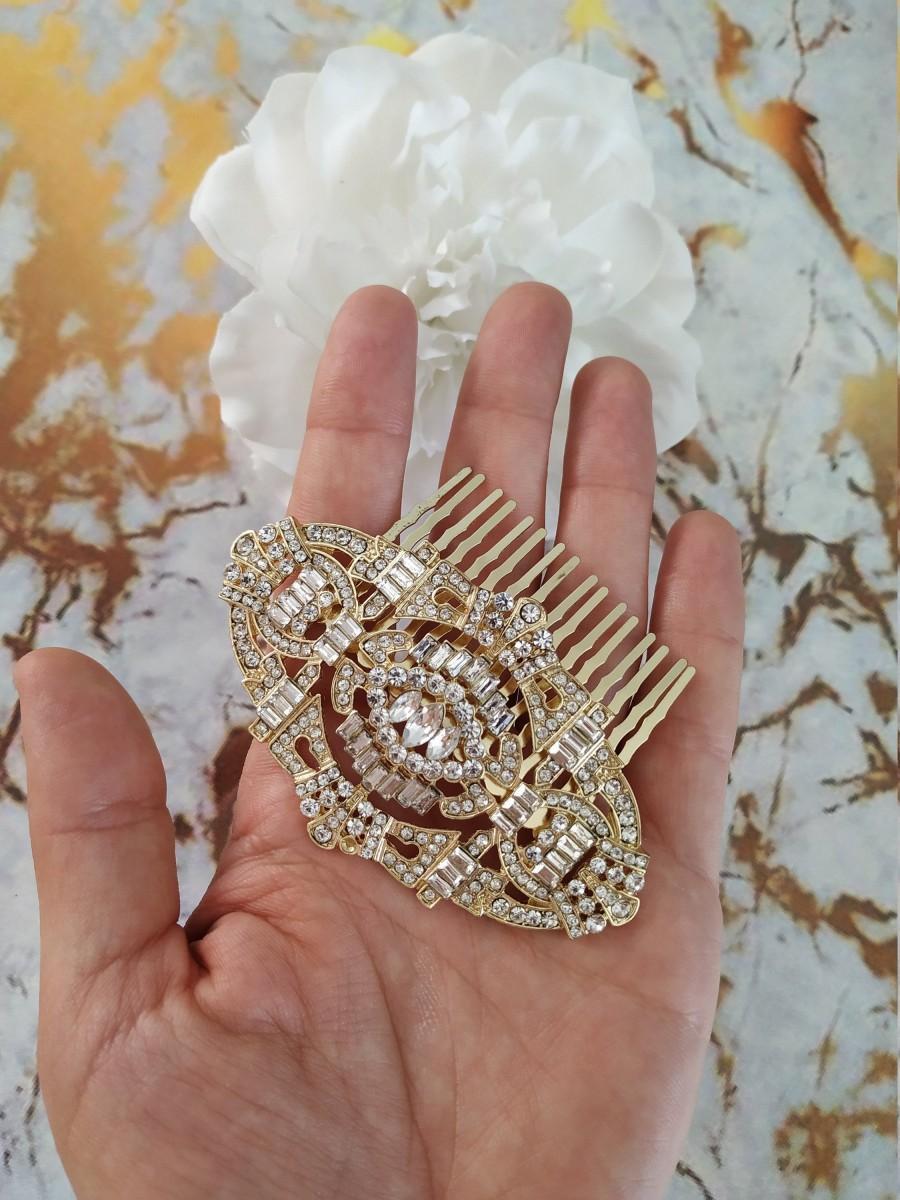 Свадьба - Vintage Headpiece Gold Bridal Headpiece Gatsby Hair Comb Swarovski Crystal Headpiece Art Deco Wedding Headpiece Gold Wedding Headpiece