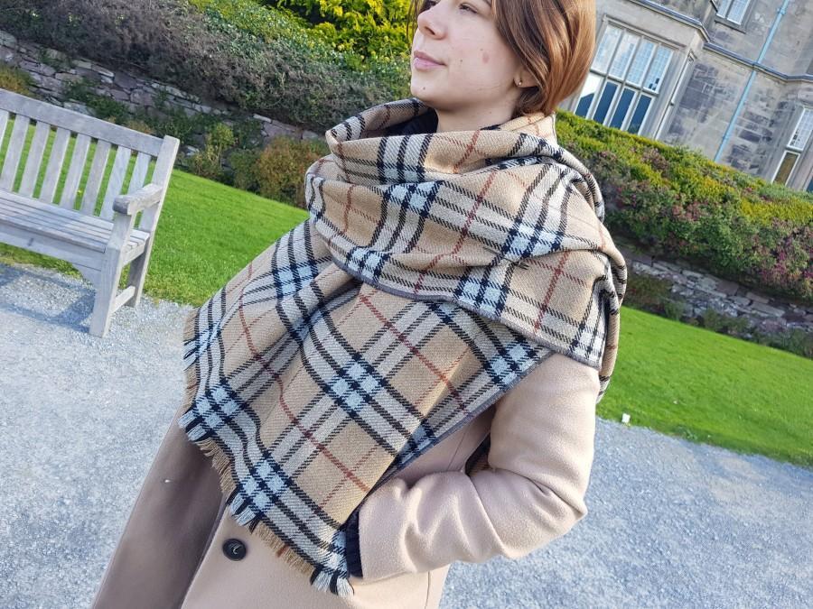 Wedding - Irish soft lambswool shawl, oversized scarf, stole -camel/black/grey/brown tartan, check plaid- 100% wool- hand fringed -HANDMADE IN IRELAND