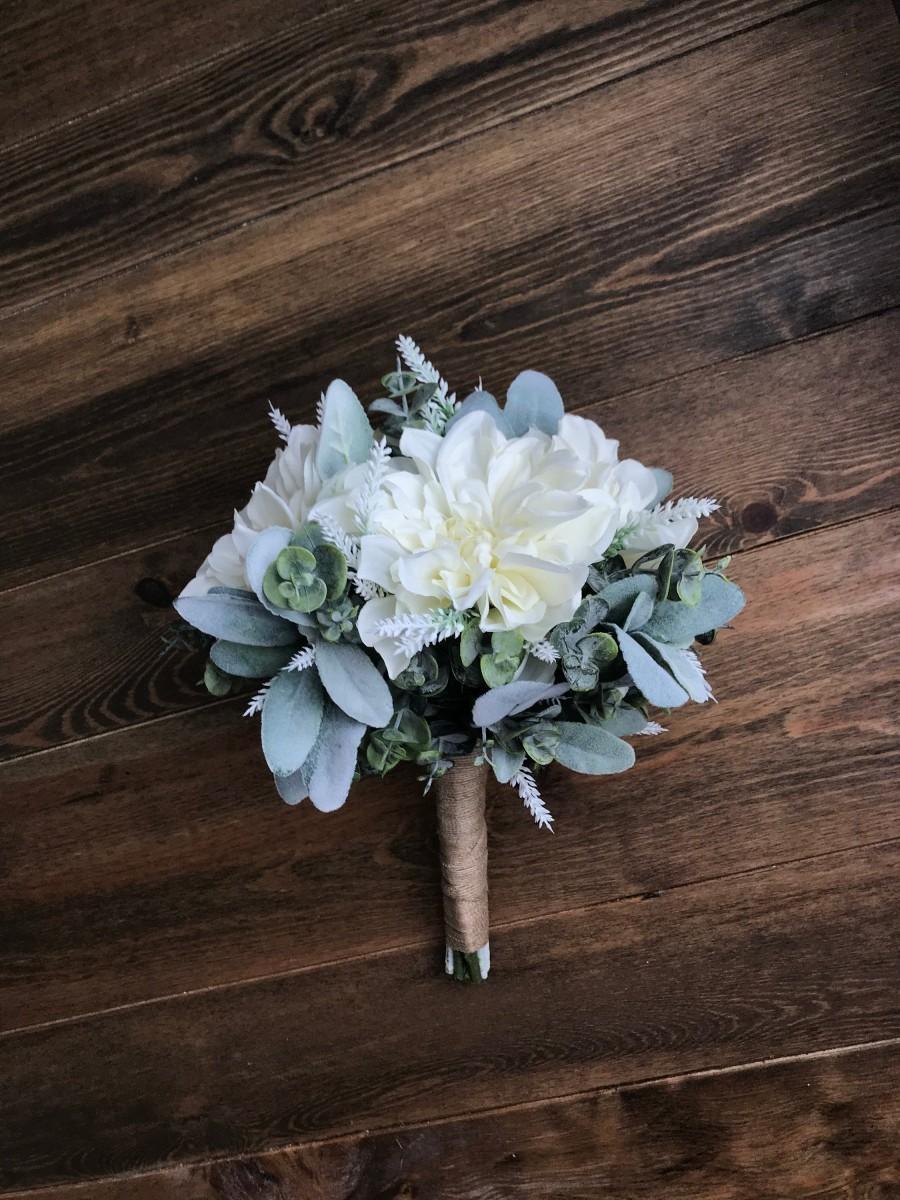 Hochzeit - White Ivory Dahlia White Lavender & Eucalyptus w/ Lamb's Ear Bridal Bouquet, Bridesmaid Bouquet, Simple Bouquet, Matching Boutonniere