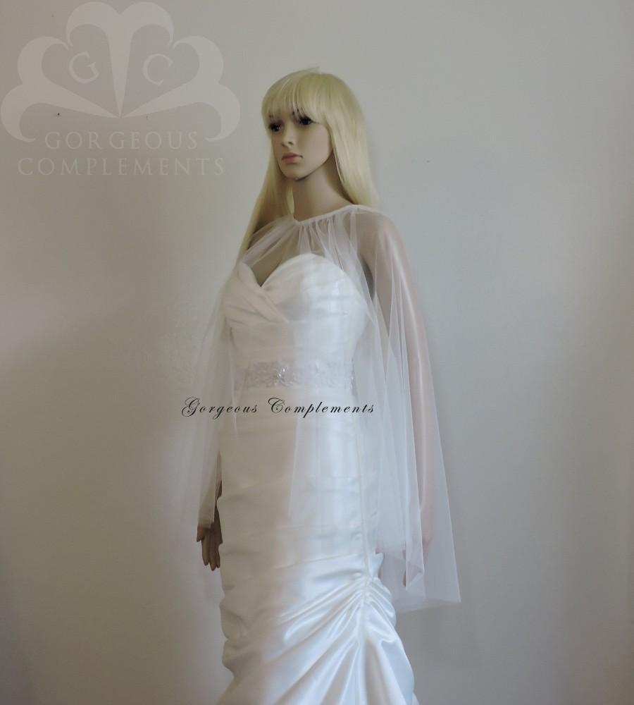 Hochzeit - Julia Wedding Sheer Cape, English Net