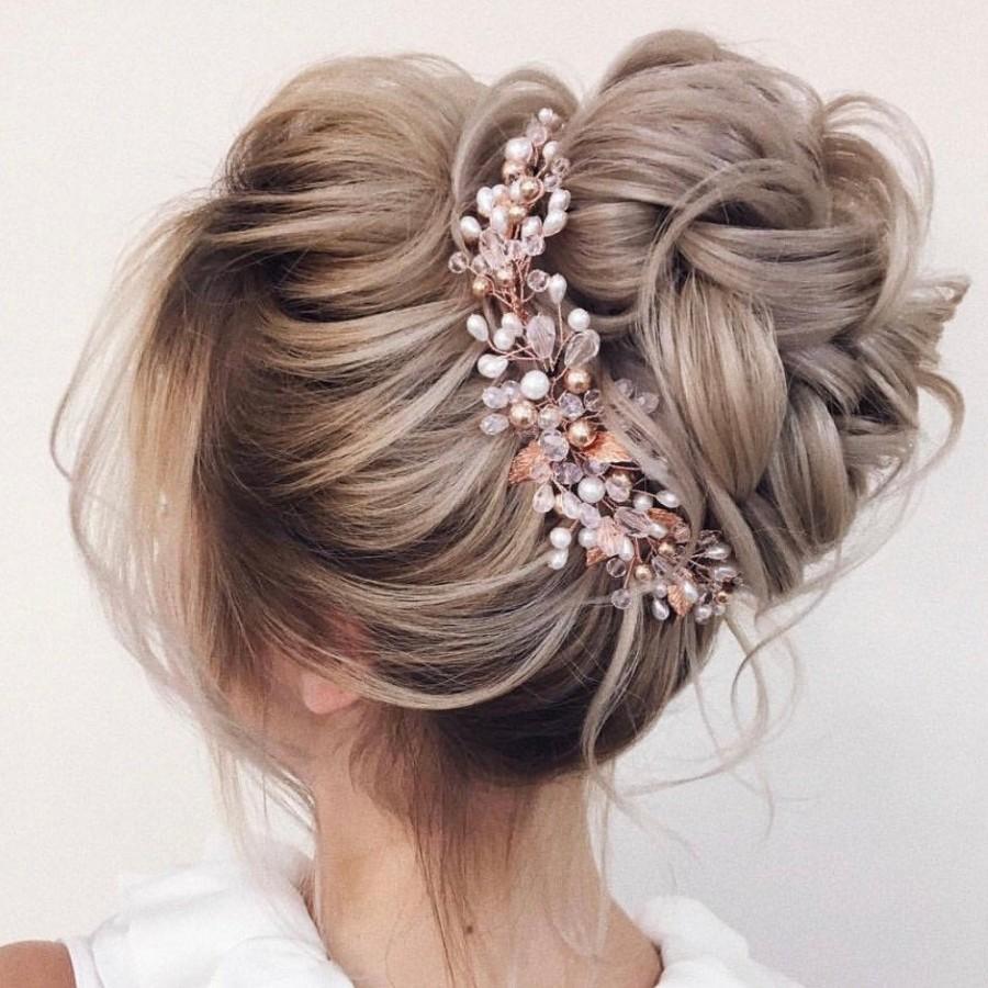 Wedding - Rose gold bridal Hair Vine -Wedding hair vine, Bride hair accessories -Wedding hair piece, Rose gold  bridal headpiece, Bridal hair piece