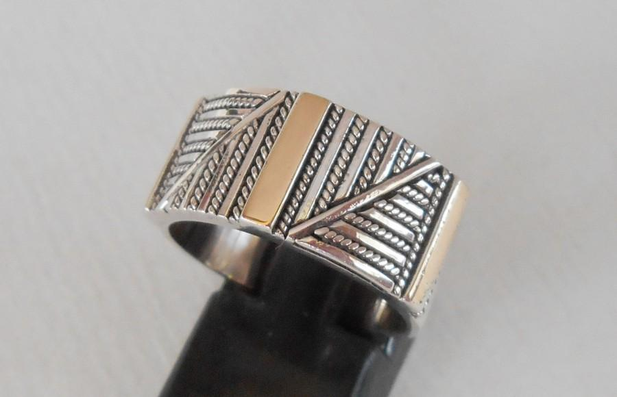 Свадьба - Balinese Sterling Silver gold  band ring / silver 925 / Bali handmade jewelry / request your size / silver 925 / (#577m)