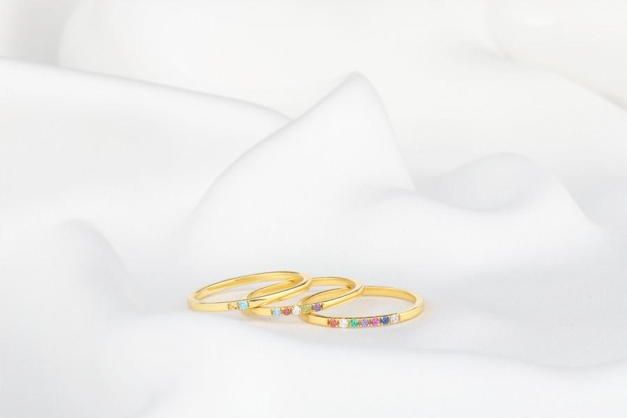 Mariage - Family Birthstone Ring, Dainty Gemstone Ring, Diamond Ring, Gold Ring, Unique Birthstone Ring, Birthstone Gifts, Mothers Jewelry