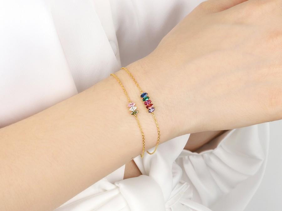 زفاف - Customized Birthstone Bracelet, Mother Day Gift, Unique Mom Family Bracelet, Personalized Birthstone Gift, Grandma Bracelet Gift