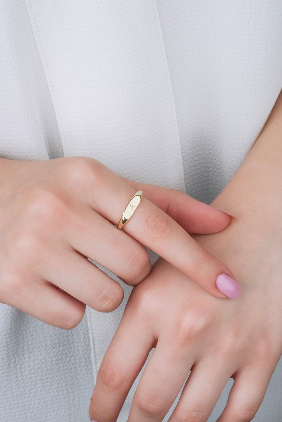 Wedding - Personalized Ring, 14K Gold Plated Ring, Letter Ring, Initial Gold Jewelry, Dainty Solid Gold Ring, Sterling Silver, Personalized Gift Ring