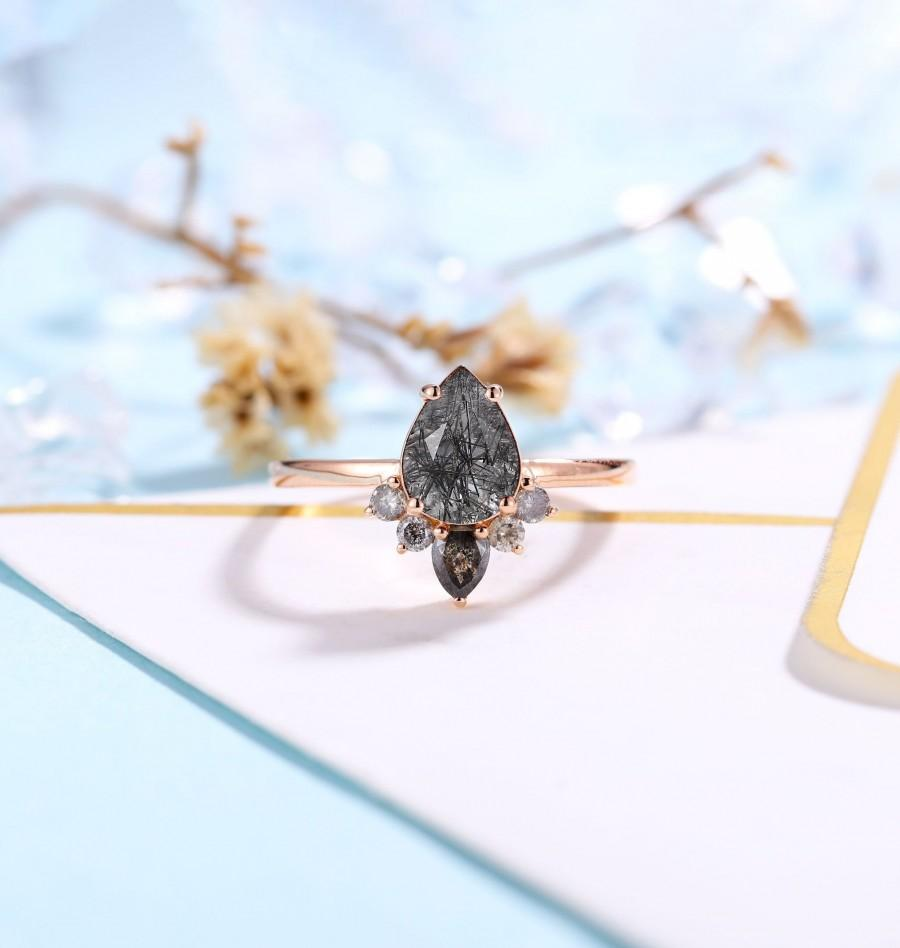 Mariage - Vintage Black Rutilated Quartz Engagement Ring Rose Gold