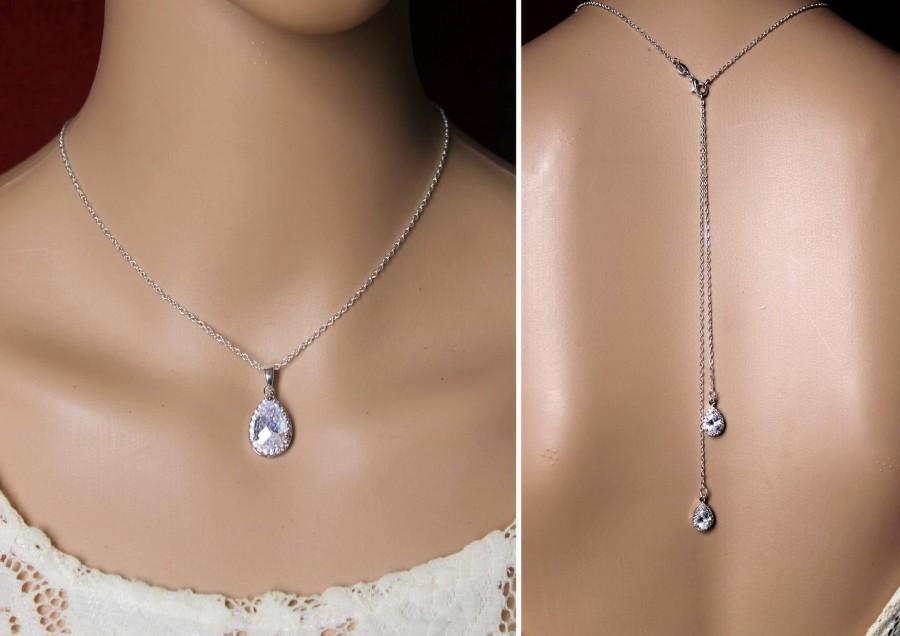 Wedding - Bride's necklace - Wedding necklace with back jewel - Zircons drops - wedding back necklace