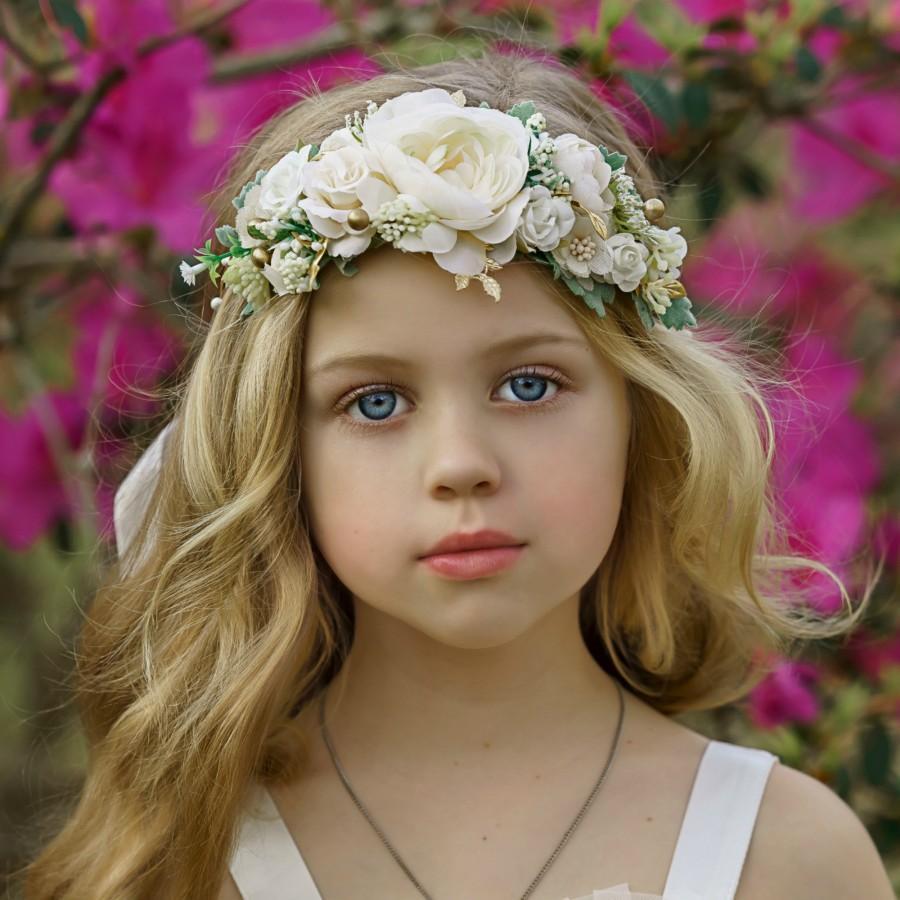 Wedding - White  Flower Crown, Flower Tiara, Floral crown, Flower Halo, Bohemian flower crown, Bridal Crown, Flower girl Crown, White Flower Headband