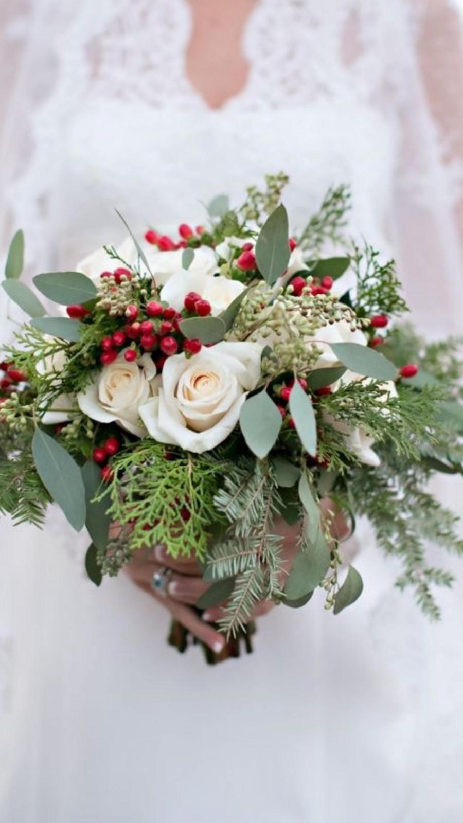 Свадьба - Winter/Christmas Rose Bridal Bouquet
