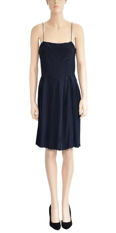 Wedding - Vintage 1980s Dress 80s Calvin Klein Navy Blue Polka Dot Silk Dress