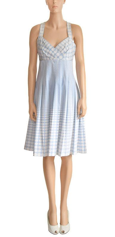 Свадьба - Vintage 1990s Dress 90s Calvin Klein Blue White Polka Dot Dress