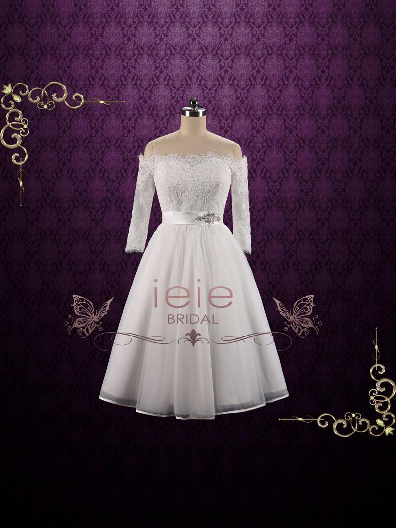Wedding - Off Shoulder Lace Tea Length Wedding Dress with Long Sleeves, Short Wedding Dress, 50s Wedding Dress, 60s Wedding Dress