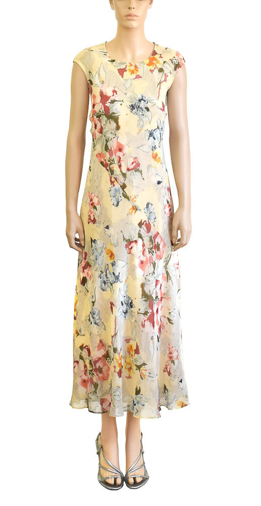 زفاف - Vintage 1990s Dress, 90s Ann Taylor Silk Yellow Floral Dress