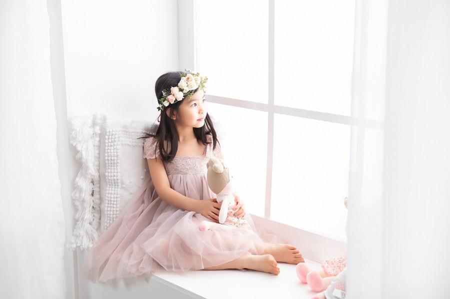 Свадьба - Full Length Taupe Tulle Lace Party Flower Girl Dress