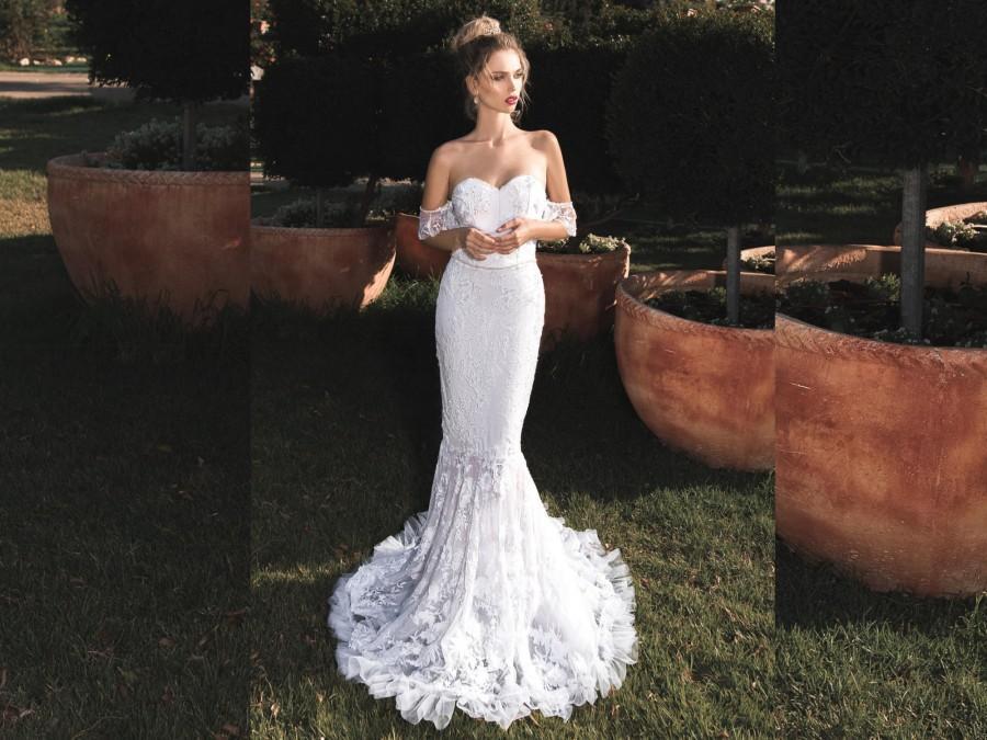 Hochzeit - Sweetheart Wedding Dress, Tight Wedding Dress, White Lace Mermaid Wedding Dress, Boho Wedding Dress, Strapless Maxi Dress, Boho Wedding Gown