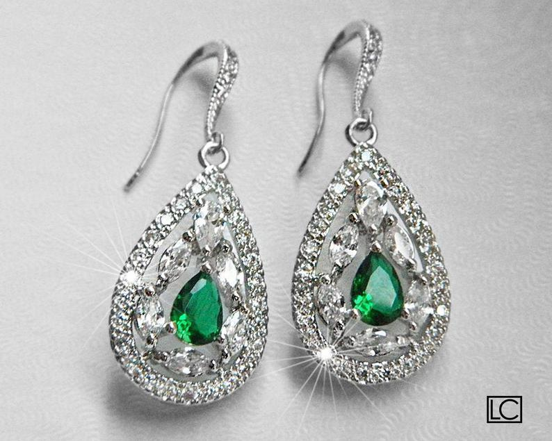Mariage - Emerald Crystal Bridal Earrings, Green Cubic Zirconia Wedding Earrings, Emerald Teardrop Sparkly Earrings, Emerald CZ Chandelier Earrings