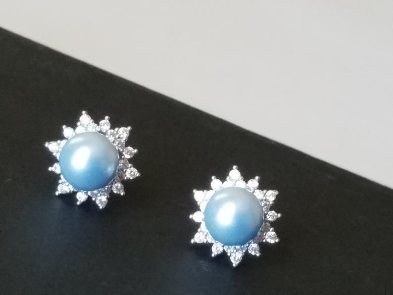 Mariage - Light Blue Pearl Earring Studs, Swarovski Blue Pearl Silver Earrings, Sky Blue CZ Halo Bridal Earrings, Wedding Bridesmaids Blue Jewelry