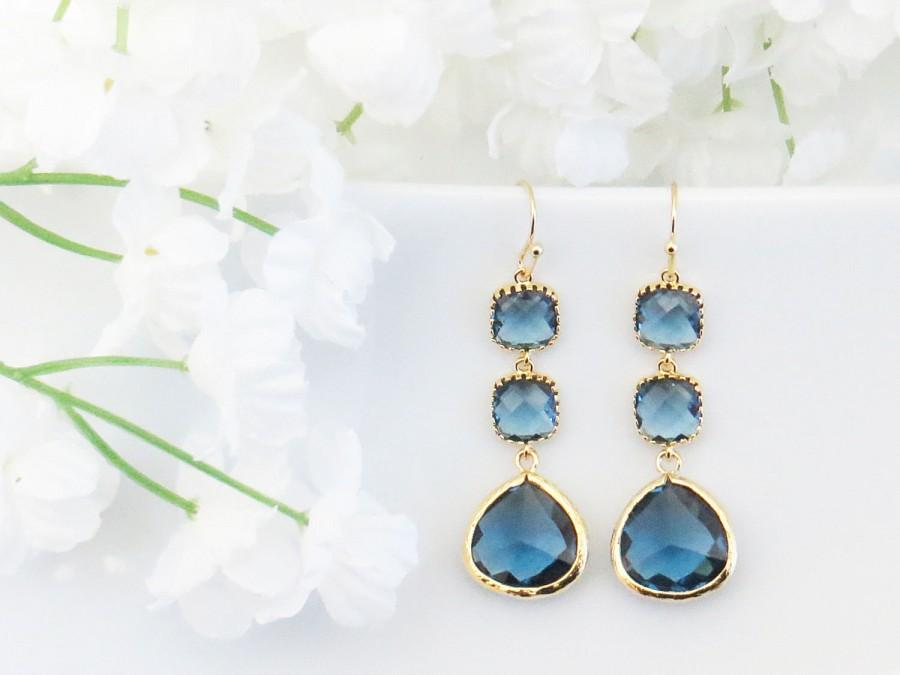 زفاف - Blue Navy Earrings, September Birthstone, Sapphire Earrings, Mothers Day Gift, Wedding Earrings, Gift for Mom, Bridesmaid Earrings, Mom Gift