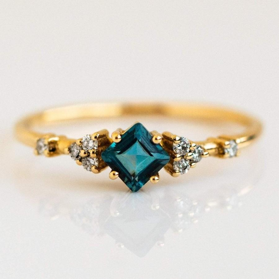 Wedding - Natural Princess Cut London Blue Topaz Ring For Her, London Blue Topaz Stone, Yellow Gold Plated Ring, Promise Ring, 925 Sterling Silver