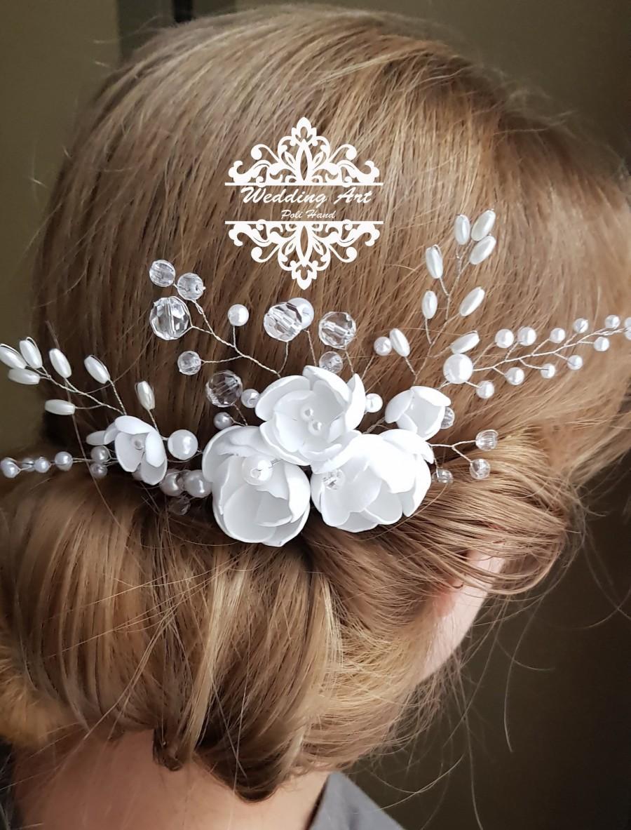 Свадьба - Wedding headpiece, Bridal hair comb, Rhinestone flower hair comb, Wedding hair comb, Freshwater pearl, Wedding hair accessory
