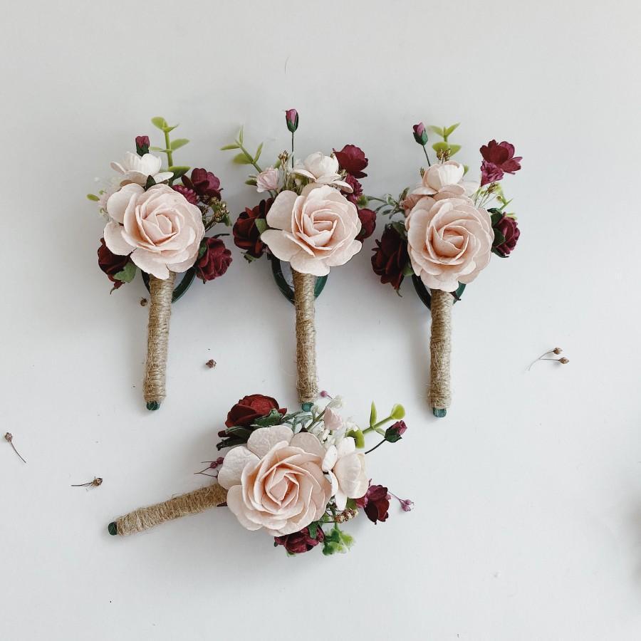 Mariage - Blush maroon boutonnières (1), boutonnière, floral boutonnières, grooms boutonnières, blush pale pink boutonnière pale pink boutonnière