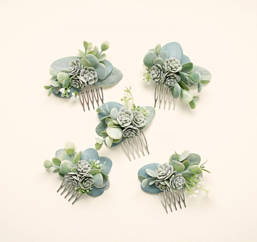 زفاف - Mini succulent comb, Bridesmaid hair comb, Bridal hair accessory, Greenery hair clip, Eucalyptus hair comb, Small leaf clip, Boho bridal