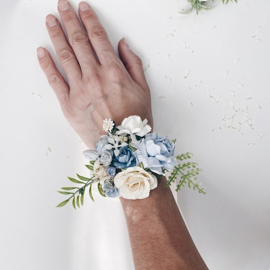 Свадьба - Dusty blue Ivory wrist corsage, Floral wrist corsages, Blue wrist corsages, Bridesmaids corsages,  Wedding bracelets,  Bridal bracelet