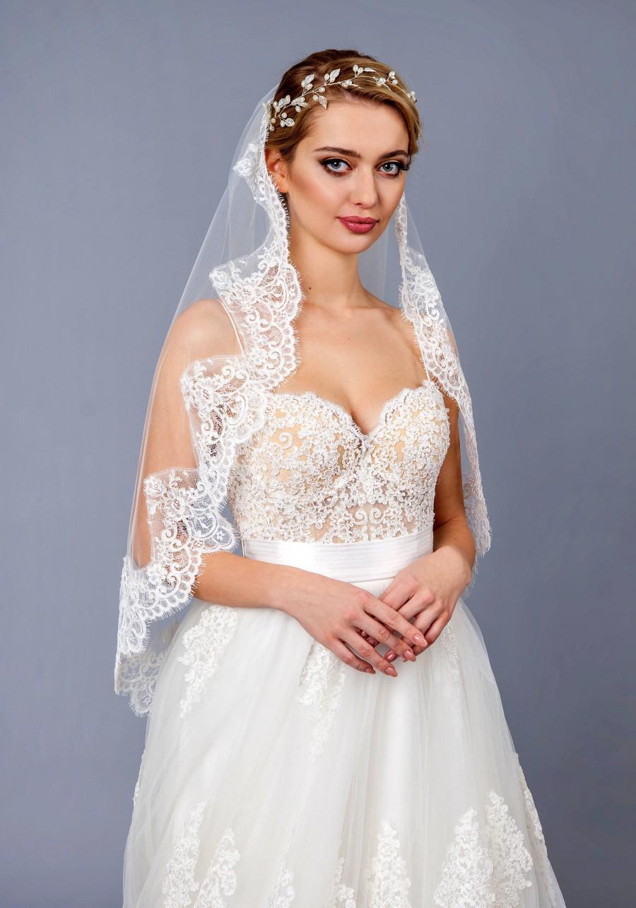 زفاف - Lace Bridal Veil, Lace Wedding Veil, Lace  Elbow Fingertip Waltz Chapel Cathedral length veil bridal veil ivory white, Lace veil
