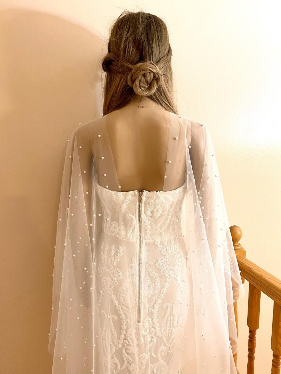 زفاف - Isabella Pearl cape veil (veil with pearls, cape veil, wedding veil, bridal accessories)