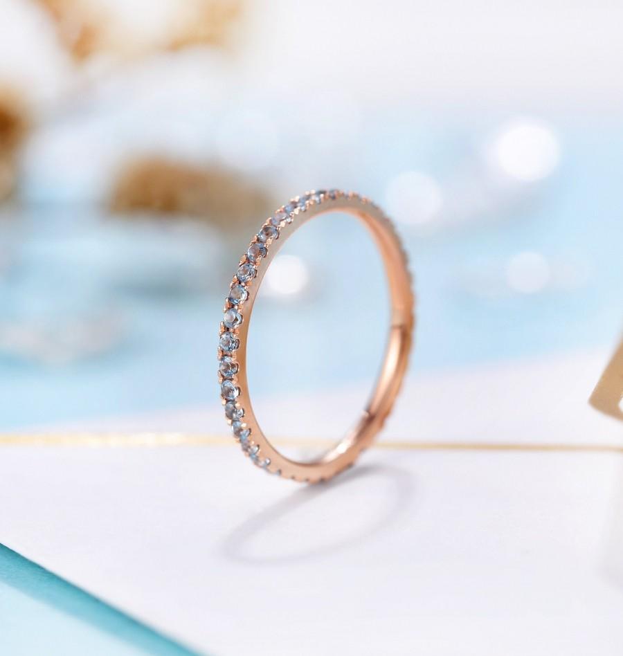 Wedding - Aquamarine Wedding Band Rose Gold Band Ring