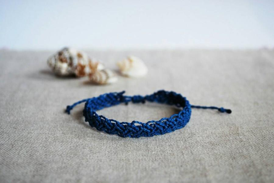 Wedding - Braided Bracelet in Blue, Macramè Braid for Him or for Her in Adjustable size, water resistant fitness sports bracelet by Reef Knot co