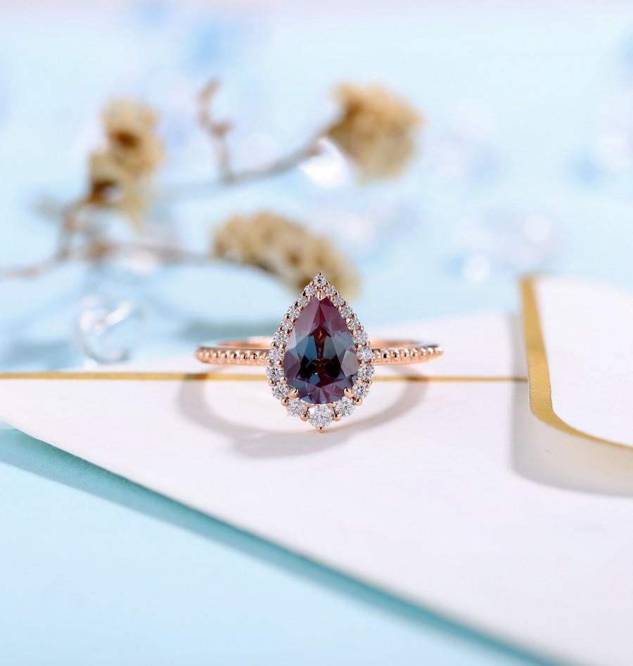 زفاف - Vintage Alexandrite Engagement Ring art deco Rose Gold ring