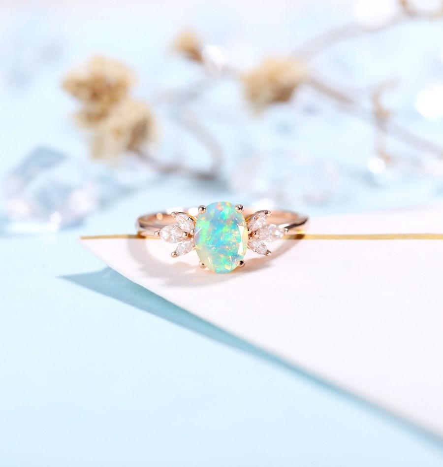 زفاف - Faceted Oval cut Opal Engagement Ring Rose gold ring Women